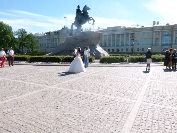 The Statue of Peter the Great that overlooks the Neva River.  A just wed couple came here to have their picture taken in front of the statue.